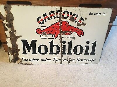1930 French Mobil Oil Gargoyle Double Sided Porcelain Sign Gas Pre WWII Beer