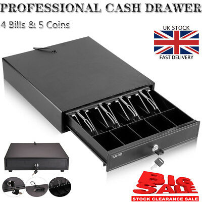 Heavy Duty POS Cash Drawer Register 4 Bills 5 Coins Tray Removable Cash Box -BLK