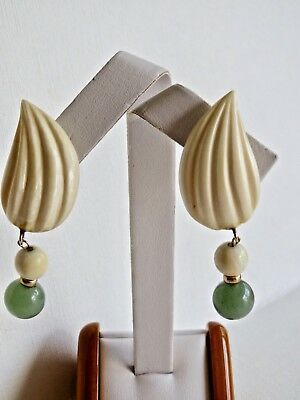 Antique Vintage Jade Bead & Cream Colored Carving Dangle Drop Earring 2 1/8 inch