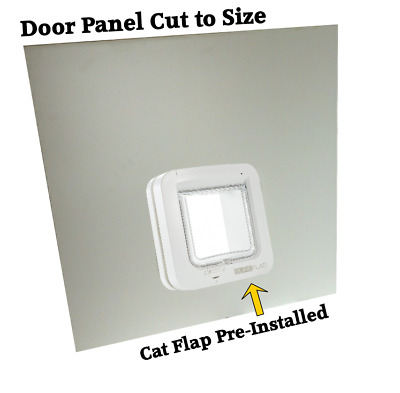 White uPVC Panel with Cat Flap Installed | Sureflap Microchip