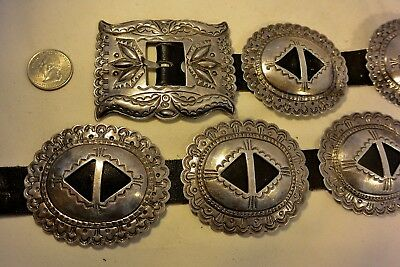 Heavy 13+ozt Navajo CONCHO BELT buckle STERLING SILVER Stamped 1st Phase style