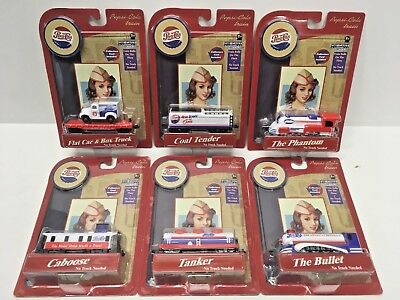 NEW - (6 PIECE) Pepsi Cola Collector Die Cast Metal Train Cars SET Gear Box Toys