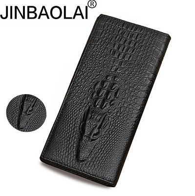 Men Leather High Capacity Long Wallet Credit Card Retro Bifold Purse New 2019
