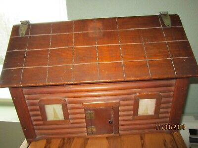"Treasure Jewelry Log Cabin Chest Wood Box UNIQUE LG 16x11x12"" Vintage unusual"