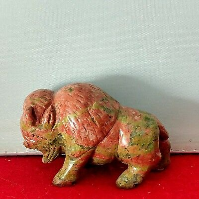 Vintage Red Gray Green Buffalo Bison Carved Soapstone Small Figurine approx 1.5""