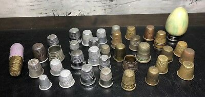 Antique Vintage Lot of 36 Thimbles Brass Painted Wood & Metal