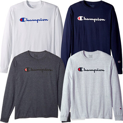 2019 Champion Men's Classic Jersey Long Sleeve Script T-Shirt Limited Edition