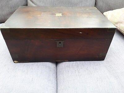 Old Vintage Brass inlaid Writing Slope Box For Repair.