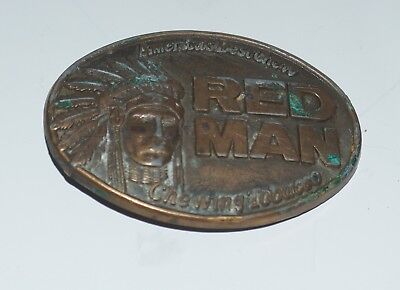 "Vintage Red Man Chewing Tobacco Belt Buckle ""America's Best Chew"" Pinkerton 1988"