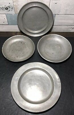 Lot of 4 Antique German Pewter Plates Fein Zinn Some w/ Angel & Scale Marks