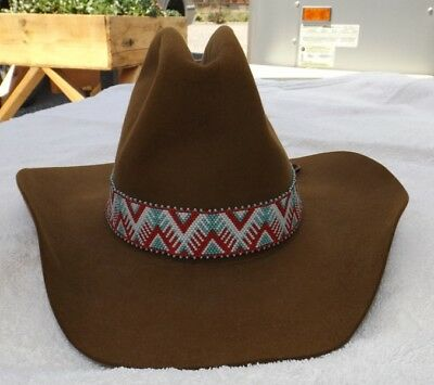 American Southwest Native Style Hand Beaded Mountain Treeline Hat Band