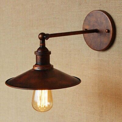 Antique Copper Vintage Industrial Wall Sconce Light Metal Lamp Shade Fixture