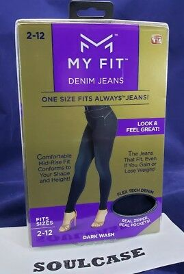NEW My Fit Jeans As Seen On TV Sizes 2-12 Women's Stretch Denim Jeans Dark Wash