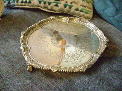 Antique Embossed And Chased Silver Plate Footed Card Tray 1882
