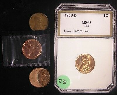 1921, 1956-D Red in a plastic case, Unc 1998 & an Error Cents