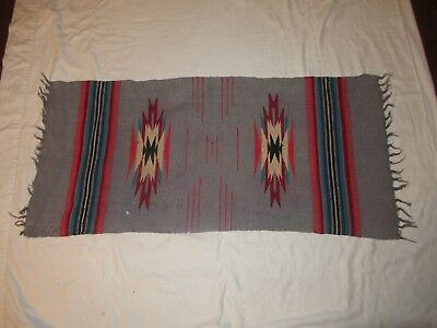 """Vintage Chimayo Wool Hanger Mexico Rug 40.5""""X19"""" Beautiful Vibrant Colors"""