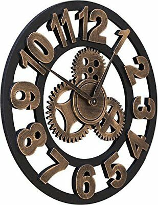 "16"" Round Wall Clock, Antique Handmade Wooden Vintage 3D Gear Design, By..."