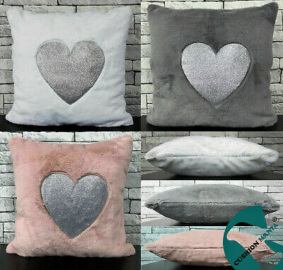 Cushion cover or cushions Super Soft Cuddly faux fur Silver Glitter Heart 17x17""