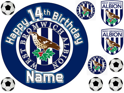 West Bromwich Albion Fc Personalised Edible Icing Cake Topper 3 Sizes