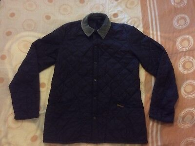 "Barbour Mens Navy Blue Quilted Jacket/coat Size M/L Pit To Pit 22.5"" Good Cond."