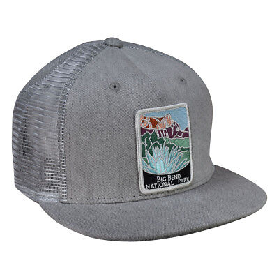 b843df62643e0c Big Bend National Park Trucker Hat by LET'S BE IRIE - Gray Denim Snapback