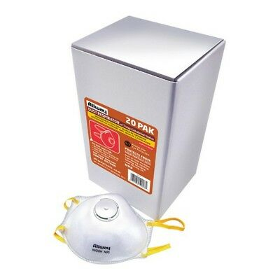 Dust Respirator with 1 Way Exhalation Valve, Box of 20 for Sawing, Sanding, etc.