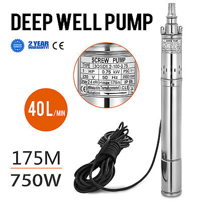 750w  Borehole Deep Well Submersible Water Pump 15m Cable 1 HP House/Garden
