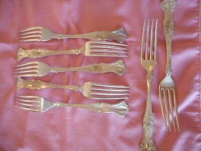 1847 Vintage Rogers Bros. A1 Grape Pattern Silverplate  7 dinner Forks + gift