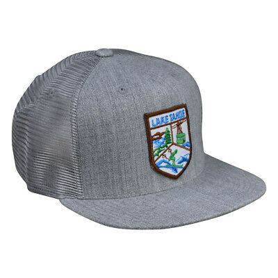 a9c96ace Lake Tahoe Trucker Hat by LET'S BE IRIE - Heather Gray Snapback, Vintage  Patch