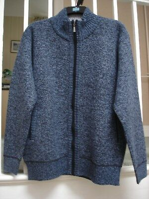 Mens Zip Up Thick Autumn/Winter Classic Knitted Cardigan-UK Large Size.Blue/Grey