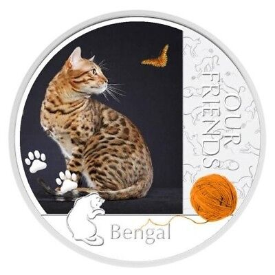 Niue 2012 2$ Our Friends Kittens - Bengal Cat 1 Oz Silver Proof Coin