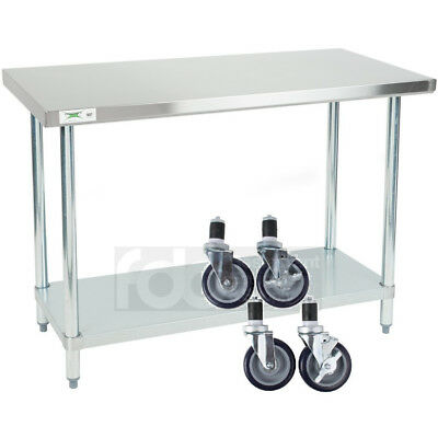 "24"" x 48"" Stainless Steel Work Prep Mobile Cart Table Shelf Commercial Casters"