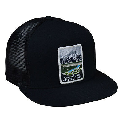 28b25dee4ef511 Grand Teton National Park Trucker Hat by LET'S BE IRIE - Black Snapback