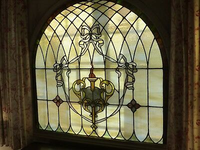 Antique American Stained Glass Window Arched Architectural Salvage ~