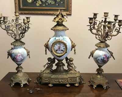 beautiful Victorian antique Japy Freres French candelabra clock set decorated