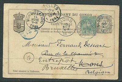 Belgium Congo 1894 Postal Stationery Uprated Needs Cleaning Rare!