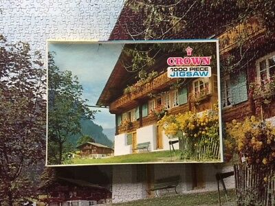 "Vintage Crown Jigsaw Puzzle No. 704, ""Swiss Mountain Chalets"" - Rare!!"