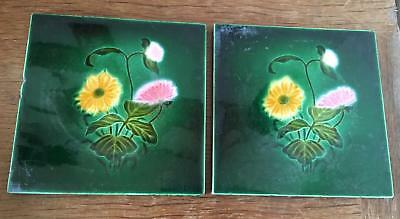 Two Antique vintage green tiles with flower design, stamped England on back.