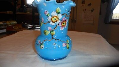 vintage BRISTOL HAND PAINTED RAISED DOGWOOD VASE