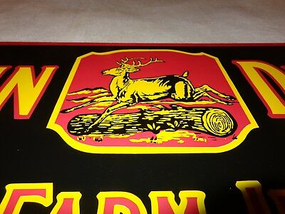 """Vintage John Deere Quality Farm Implements 36"""" X 12""""metal Tractor Gas & Oil Sign"""