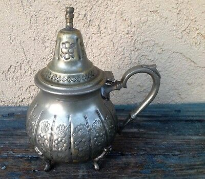 Antique Morocco Islam Middle East Decorative Embossed Metal Teapot, No Spout