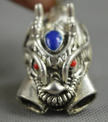 Collectable Handwork Miao Silver Carve Myth Dragon Head Tibet Souvenir Pendant
