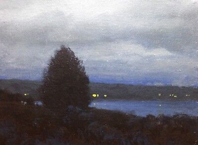 Twilight New England Coastal Seascape Impressionism Art Oil Painting Landscape