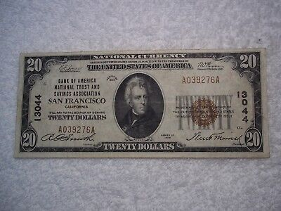 1929 $20 San Francisco California CA National Currency T1 #13044 Bank of America