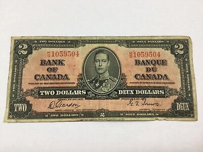 Vintage 1937 Bank of Canada $2 Two Dollar K/B 1059504 Banknote Note