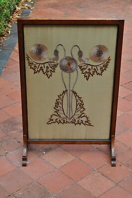 Dark wood antique firescreen with attractive patterned insert
