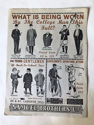 RARE! Amazing Turn of the Century Samuel Brothers Ltd College Advertisement.