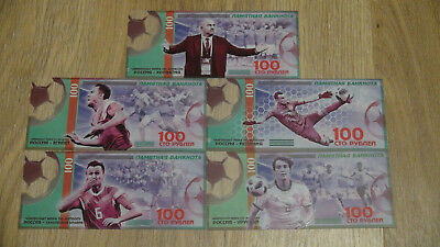 Set of 5 Souvenir banknotes 100 rubles 2018 FIFA world Cup Russia. Polymer