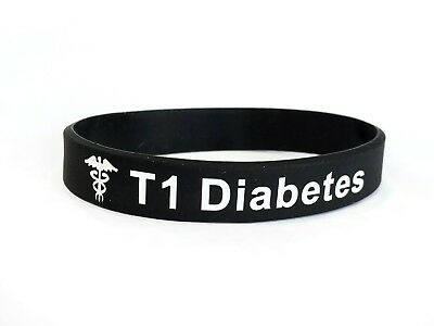SALE SECONDS Type 1 Diabetes Wristband Medical Alert Silicone Band 202mm