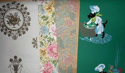 FOUR ROLLS Vintage WALLPAPER ROLLS~~1940s/1950s~~CHEF DOGS~FLORAL~BAROQUE !!